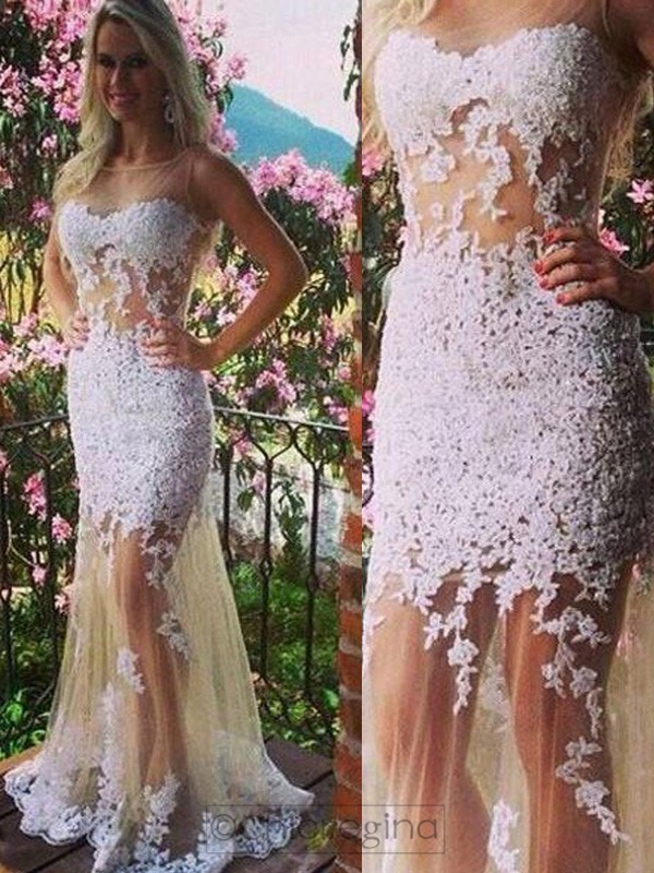 Trumpet/Mermaid Scoop Sleeveless Tulle Long Dress With Appliques