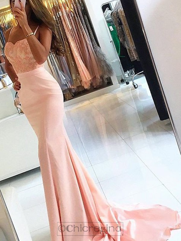 Trumpet/Mermaid Spaghetti Straps Sleeveless Sweep/Brush Train Satin Dress With Appliques