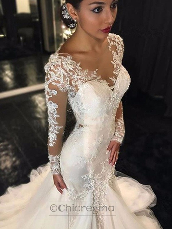 Trumpet/Mermaid V-neck Long Sleeves Court Train Tulle Wedding Dress With Lace
