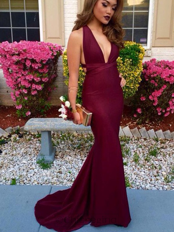 Trumpet/Mermaid V-Neck Sleeveless Sweep/Brush Train Spandex Dress