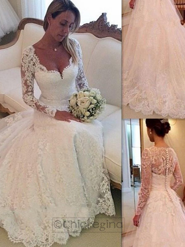 Unique Ball Gown V-neck Long Sleeves Court Train Tulle Wedding Dress With Lace